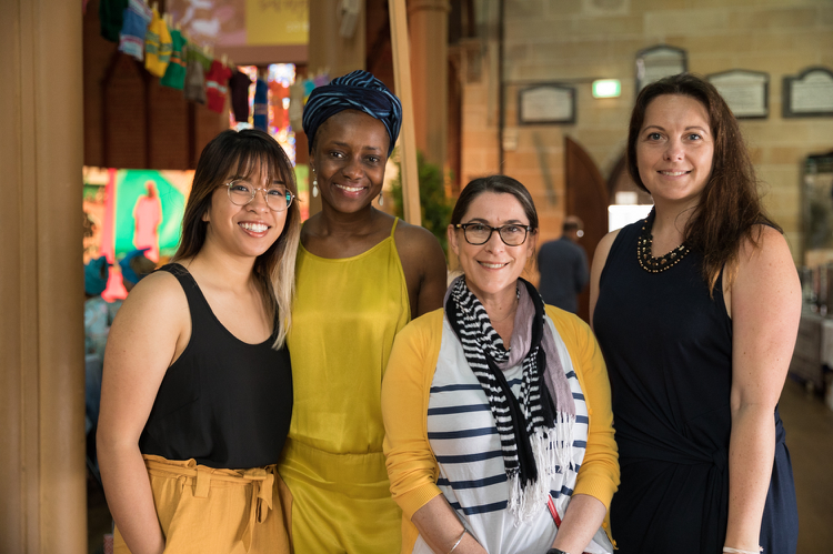 Erica Sufani (left) with her colleagues at the Aminata Maternal Foundation