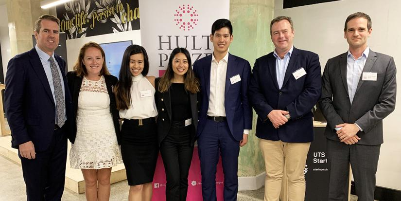 The winning team with judges at the Hult Prize on-campus final at UTS.