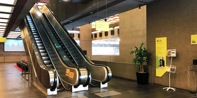 The original escalators in the UTS Tower