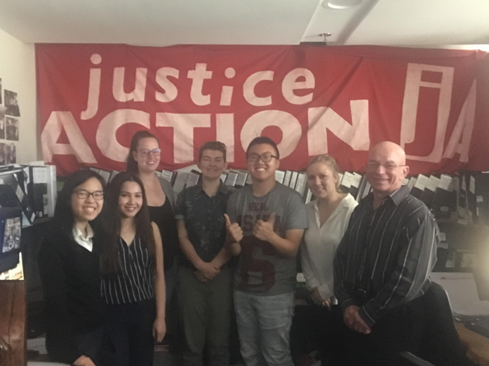 UTS student Patrick Young (third from right) with other volunteers at Justice Action