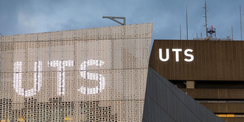 UTS logo on building 11 and building 1