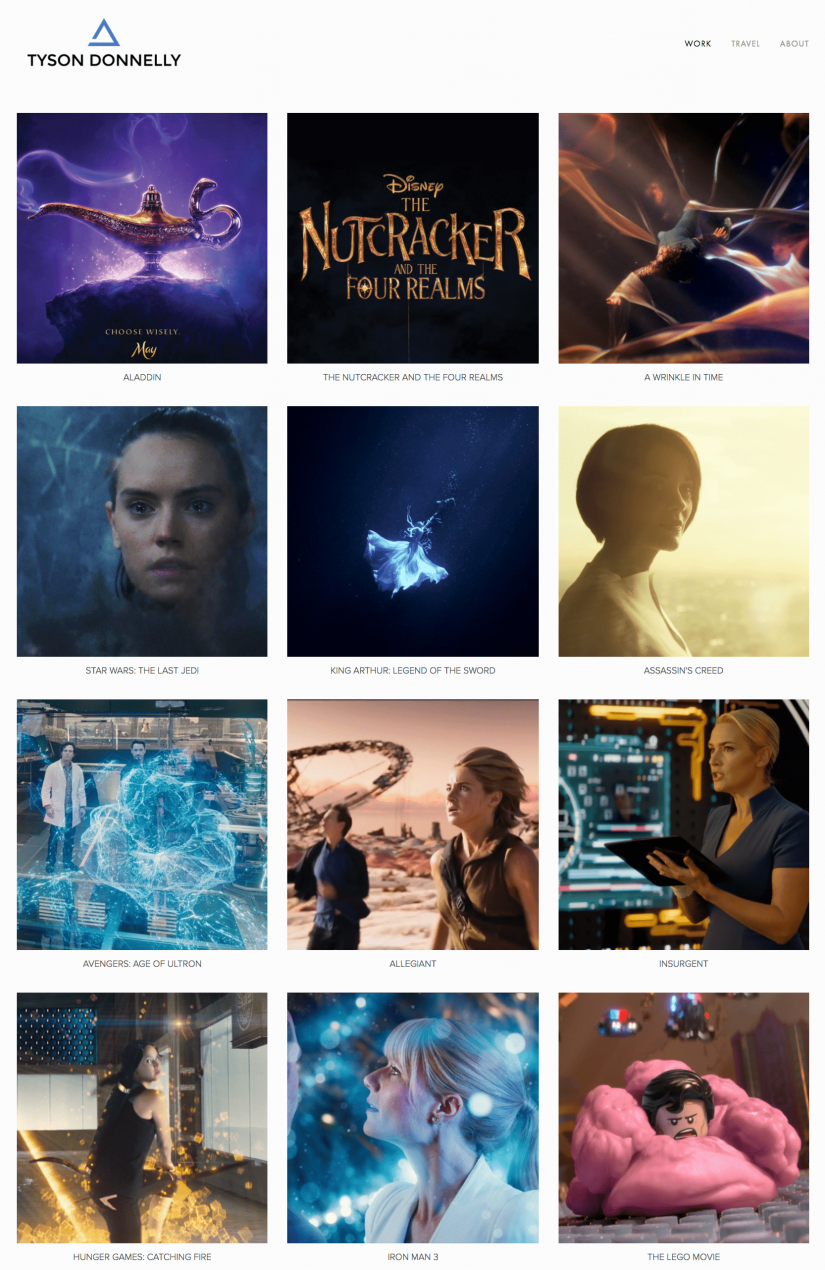 Tyson's portfolio, including The Hunger Games, The Lego Movie, Insurgent and Aladdin