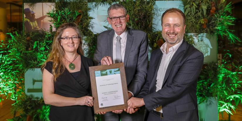 UTS staff Danielle McCartney (Manager, Sustainability), Glen Rabbitt (Director, FMO) and Jonathan Prendergast (Green Infrastructure Project Manager) at the Green Globe Awards