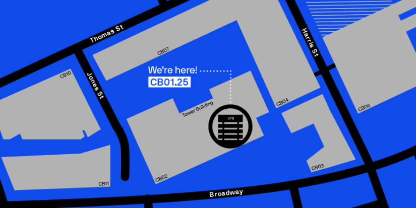 Map of the UTS tower building and surrounding precinct