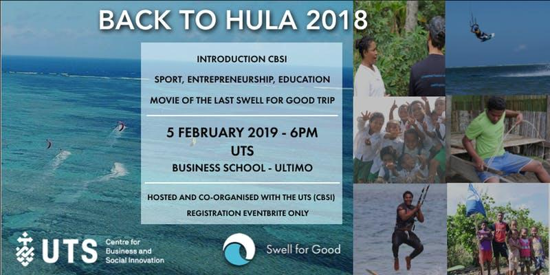 Image with details of back to Hula event and images of kitesurfers