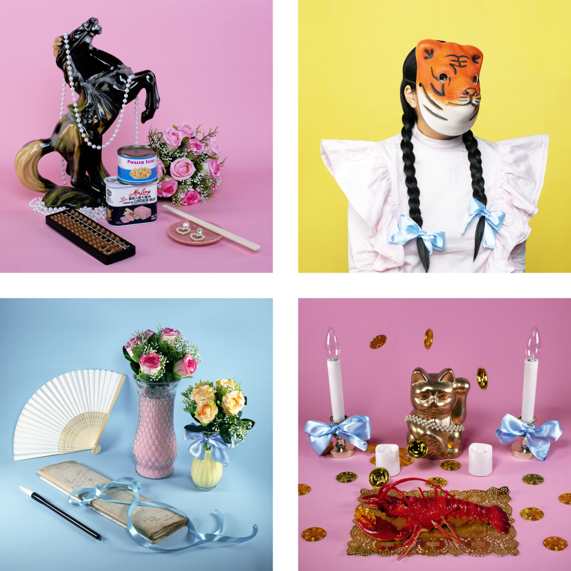 Four colourful photographs of a variety of kitsch objects including pearls, lucky cat figurine and fake flowers