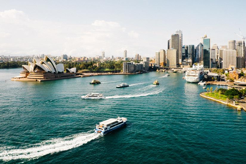 Aerial shot of Sydney Harbour, facing Circular Quay and the Sydney Opera House.