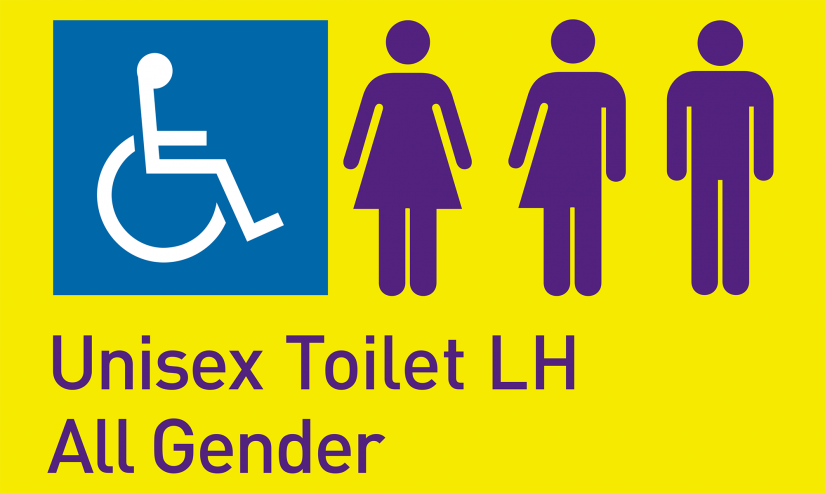 Accessible, female, male and gender neutral bathroom symbols. Text on page: Unisex Toilet LH All Gender.