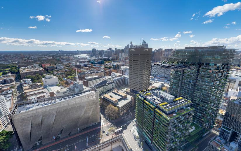 UTS campus aerial view, Ultimo, NSW Australia
