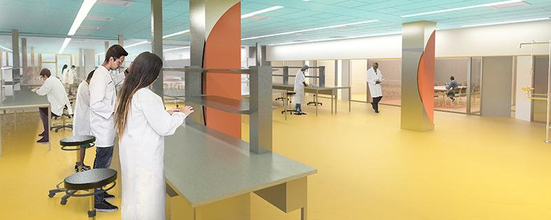 Artists' impression of a lab inside the Science Research Building