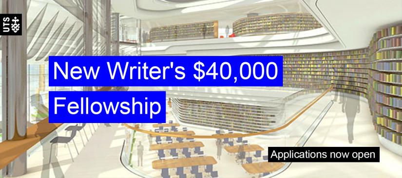 A sketch of the new UTS library with text overlaid reading 'New Writer's $40,000 Fellowship, Applications now open'