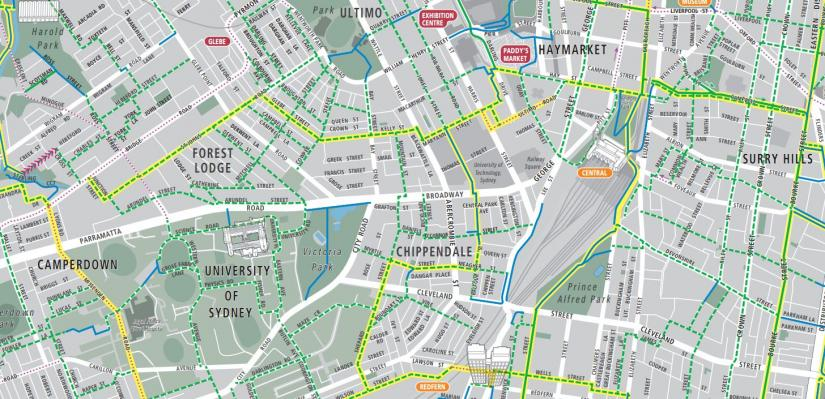 Excerpt from Sydney Cycling Map