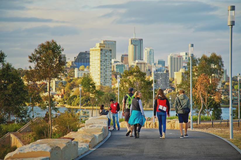 People walking in Barangaroo reserve Sydney