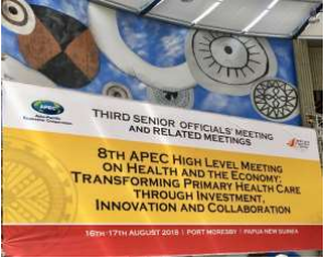 A banner at the high level meeting 2018