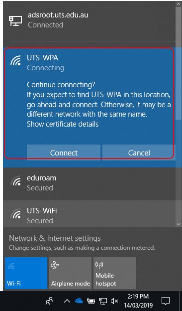 uts-wpa certificate alert for windows 10