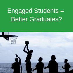 Students playing basketball with text above that says 'engaged students = better graduates?'
