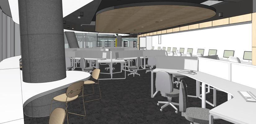 Open-plan learning commons with workstations and seating