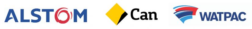 Company logos Alstom, Commonwealth Bank, Watpac