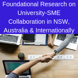 Hands shaking across table with text above that reads 'Foundational Research on University-SME collaboration in NSW, Australia and internationally'
