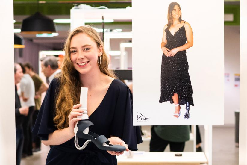 UTS Product Design student Eloise Cleary presents her prosthetic design at the end of year show