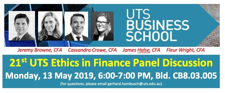 21st UTS Ethics in Finance Panel Discussion