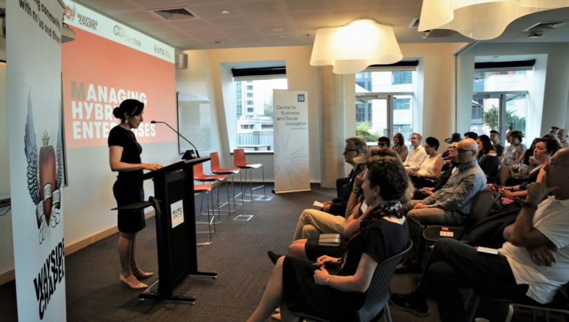 Associate Professor Danielle Logue launches the 'Managing Hybrid Enterprises' guidebook