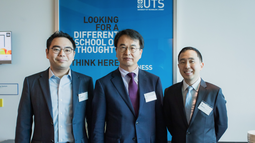 Fintech Symposium guests Dr KiHoon Hong (Hongik University), Mr Heung-No Lee (Financial Supervisory Services South Korea), Dr Adrian Lee (UTS Business School)