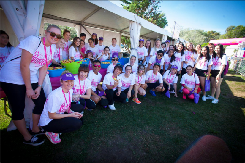Volunteers including SOULie Akshata Dabholkar at the Mother's Day Classic fun run, raising money for breast cancer research, 12 May 2019