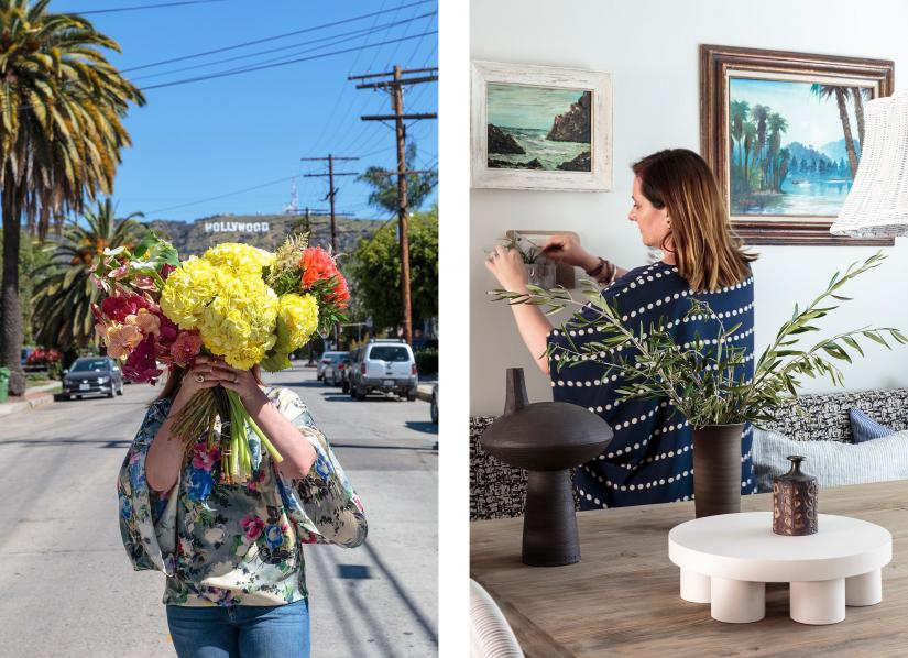 Bronwyn Poole in front of Hollywood Hills holding a bouquet (left) and Bronwyn adjusting wall decoration design inside (right)