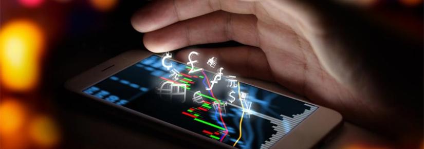 Fintech hand over phone screen