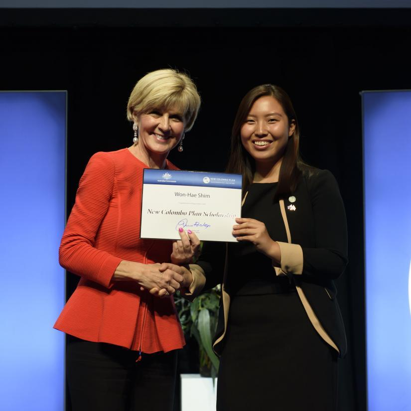 UTS Construction Project Management student Won Hae Shim, with Julie Bishop