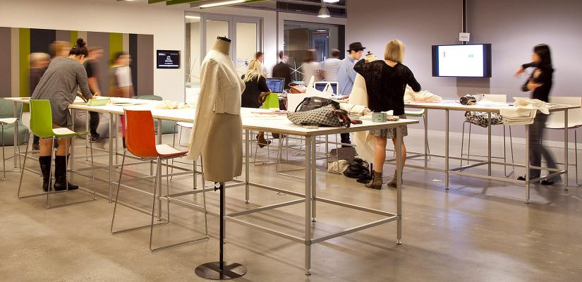 Fashion students in studio-style classroom in Building 6