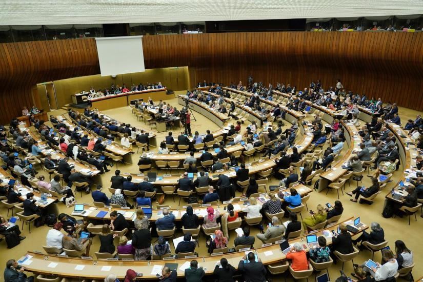 Delegates debating at the 72nd WHA.