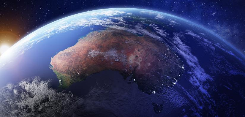 Australia from space at night with city lights (iStock)