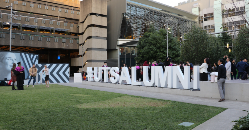 Students on the Alumni Green following their UTS Health Graduation Ceremony