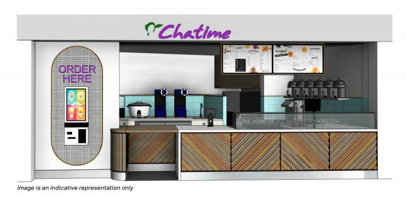 The Chatime counter features drink coolers and a touch-screen ordering point