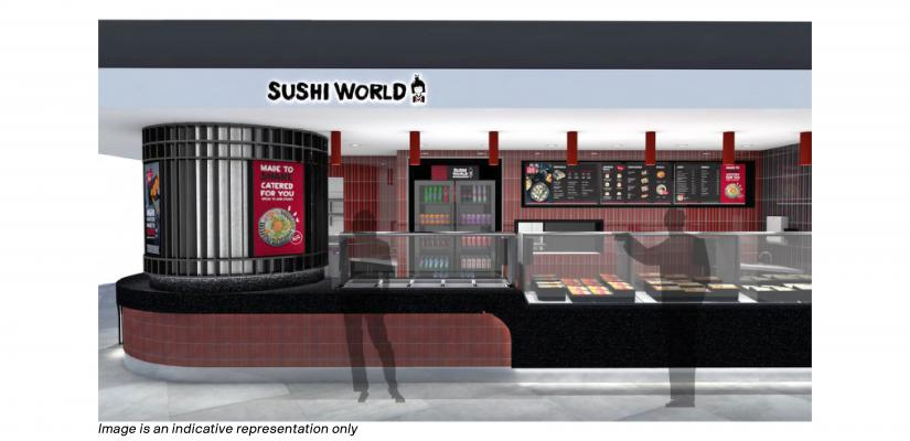 The Sushi World counter features sushi display cases and drinks firdges