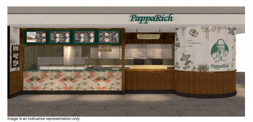 The PappaRich counter features Malaysian-style artwork, food display cabinets and menu boards
