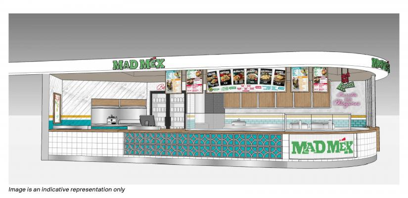 The Mad Mex counter features white and green tiles and colourful menu boards