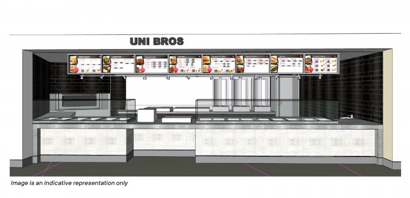 The Uni Bros counter features kebab roasters, food display cabinets and menu boards