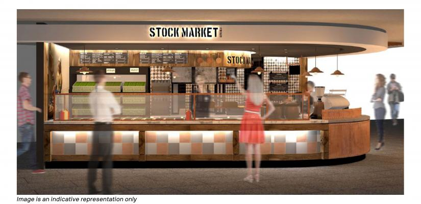 The Stock Market counter features colourful tiles, wooden joinery and chalkboard menus