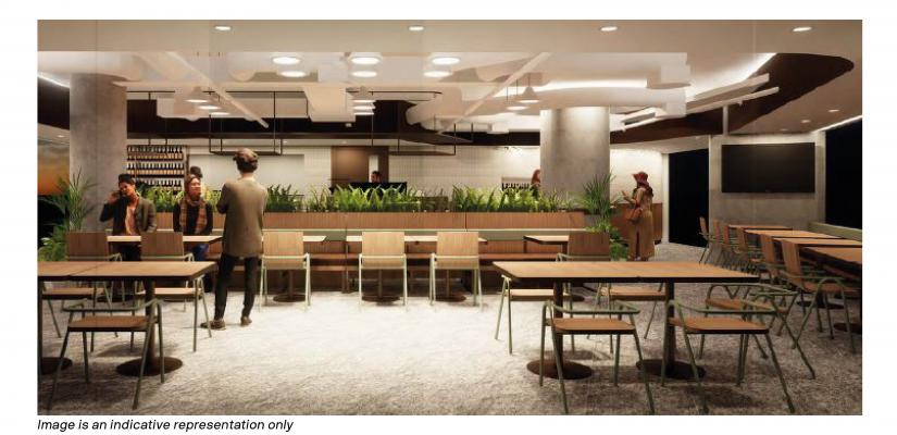 The Terrace on the Green features metal and wooden furniture, concrete beams and indoor plants