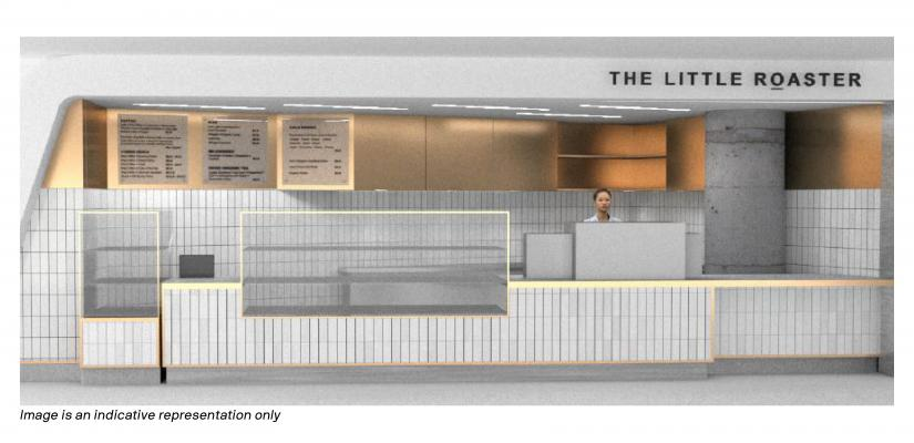 The Little Roaster counter features grey tiles and glass display cabinets