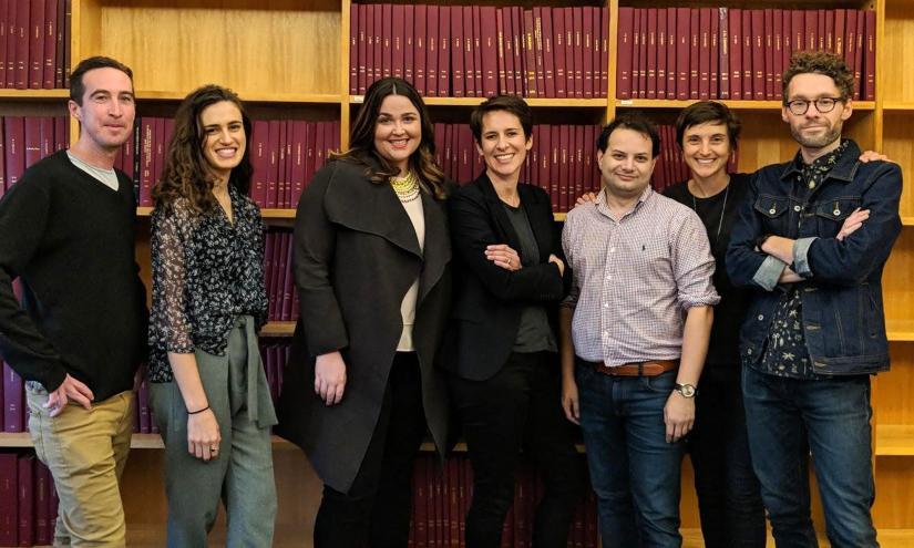 The History Lab team, from the left, Tom Allinson, Ninah Kopel, Emma Lancaster, Tamson Pietsch, Miles Martignoni, Olivia Rosenman and Jason L'Ecuyer