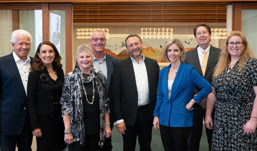 From left to right: Marcus Blackmore AM, Caroline Blackmore, Petrea King, Associate Professor David Burke, Professor Bryce Vissel, Sophie Scott, Dale Bredesen MD and UTS Deputy Vice-Chancellor (Research) Professor Kate McGrath