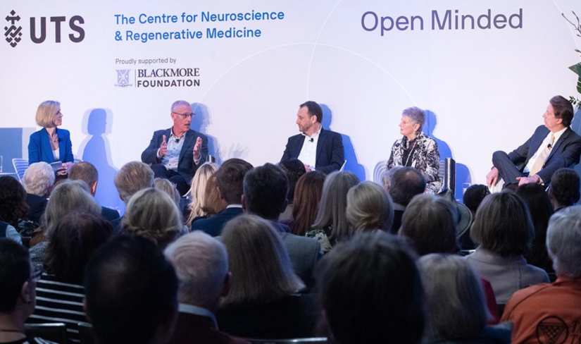 The Open Minded panel. From left to right: Sophie Scott, Associate Professor David Burke, Professor Bryce Vissel, Petrea King and Dale Bredesen MD