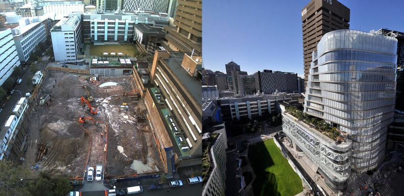 Excavation of Alumni Green and overlooking Alumni Green and UTS Central today