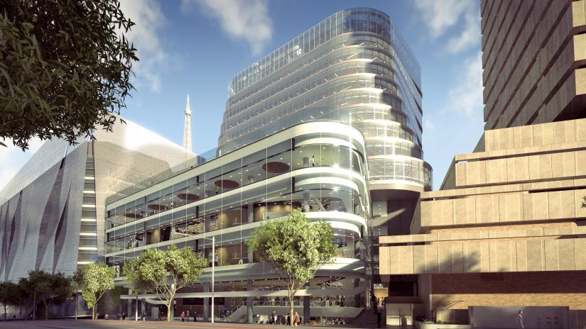 An artist's impression showing the UTS Central building on Broadway, sitting between the UTS Tower and the Faculty of Engineering and IT Building. UTS Central has a gleaming glass facade and curved design.
