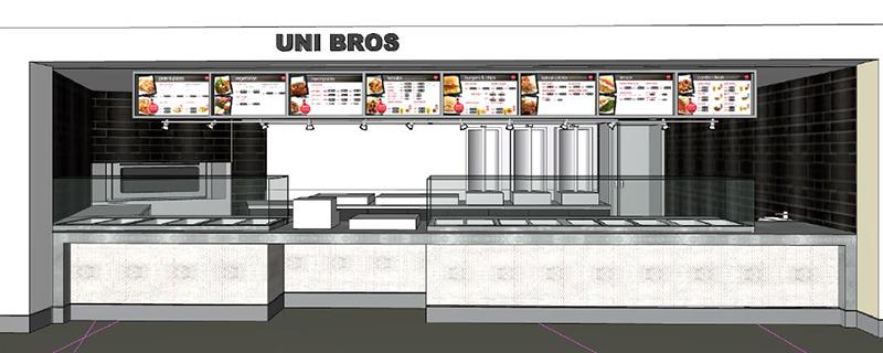 An artist's impression of the Uni Bros counter, showing heated food cabinets, kebab roasters and menu boards