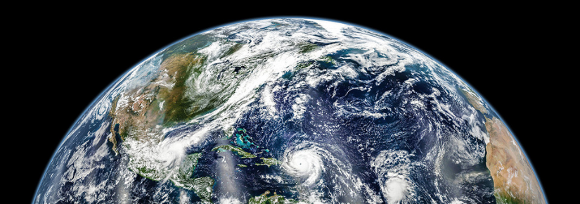 Hurricanes Katia, Irma, and Jose lined up across the Atlantic basin In early September 2017